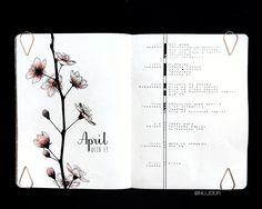 Bullet journal weekly layout, unique log symbols, flower drawing. | @nu.jour