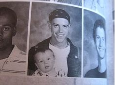 Baby daddy and his son in the Yearbook -- His parents must be so Awesomely Awkward Yearbook Photos Funny Yearbook, Yearbook Quotes, Yearbook Pictures, High School Yearbook, Funny Pictures, Funny Pics, Awkward Pictures, Crazy Pictures, Sports Pictures