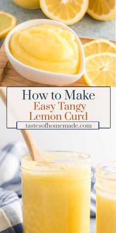 This recipe for easy tangy lemon curd, made with fresh lemons, is not too sweet, extra lemony and has a creamy texture. Easy Lemon Curd, Lemon Curd Recipe, Lemon Desserts, Fun Desserts, Delicious Desserts, Citrus Recipes, Vegan Recipes Easy, Recipes With Lemon, Kitchen Recipes