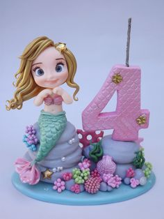 Mini topo circo no Little Mermaid Cakes, Mermaid Birthday Cakes, Little Mermaid Parties, Birthday Cake Girls, The Little Mermaid, Birthday Parties, Sea Cakes, Fondant Animals, Fondant Figures