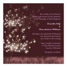 Brightly glittering dandelion flowers on a burgundy colored background designed on custom Formal Wedding Invitations. This dreamy, whimsical, elegant, lyrical, nocturnal, romantic dandelion theme wedding stationary design will be adored by your wedding guests! Very special, unique & artistic wedding invitation for your special wedding. All the sample text can be fully personalized with your own wording. Feel free to change typefaces, sizes & colors of the text as well. (Matching wedding…