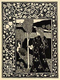 ex libris plates by Art Nouveau illustrator Louis Rhead (1857–1926)