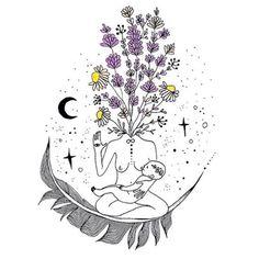 Beautiful nourishing illustration by — custom design for ✨ Art And Illustration, Illustrations, Inspiration Art, Art Inspo, Mini Tattoos, Kunst Inspo, Rosen Tattoos, Mystique, Moon Child