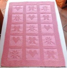 Pink Bobble Blanket: Includes charts for heart, butterfly, and flower. Would look great in a bobble crochet Knitted Baby Blankets, Baby Blanket Crochet, Crochet Baby, Free Baby Blanket Patterns, Baby Knitting Patterns, Crochet En Relief, Bobble Crochet, Irish Crochet, Tapestry Crochet Patterns