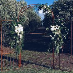 Set amongst the olive groves on a glorious Autumn day @mtduneedestate Arch: handcrafted by Jess's Dad John @reidandco as a gift to Jess & Dan on their wedding day. Flowers: The Flower Dispensary