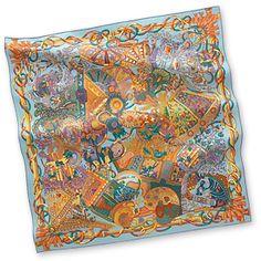 """Au fil du Carré - Light Blue  Silk twill scarf, hand-rolled (36"""" x 36"""")"""
