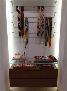 Scarf Displays for Retail | here plug in scarf display bars match the necktie display bars used ...