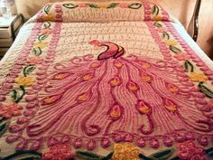 VINTAGE PEACOCK CHENILLE BEDSPREAD - soooo want one of those!!