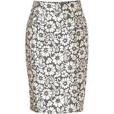 Burberry London - Silk Blend Skirt in Black/White Lace Optic