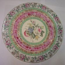 SHABBY MOSAIC TILE SET ~ TABLE TOP PINK ROSE MINT GREEN ~ CHINA STAINED GLASS 15