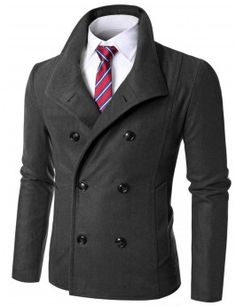 Mens Casual Double Breasted Wool Jacket (GA06)
