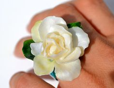 Gardenia Scent FLOWER RING - Adjustable Statement One Of A Kind Fine Art Ring, Fancy, Refined, Ivory Flower Ivory, Fancy, Fine Art, Trending Outfits, Unique Jewelry, Handmade Gifts, Rings, Flowers, Etsy