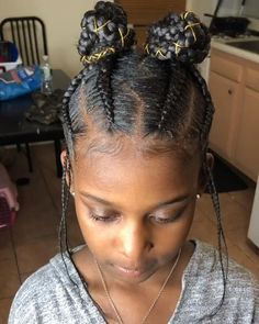 Black Kids Braids Hairstyles, Black Girl Braided Hairstyles, Natural Hairstyles For Kids, Braids For Black Hair, Natural Hair Styles, Children Braided Hairstyles, Crochet Hairstyles For Kids, Canerow Hairstyles, Afro Hairstyles For Kids