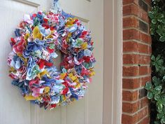 Spring Wreath, Summer Wreath, Fabric Wreath, Rag Wreath, Door Wreath, Outdoor Wreath, Shabby Cottage Country Farmhouse Decor, Denim Wreath by AWorkofHeartSA, $75.00