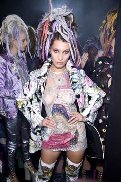Bella Hadid poses backstage at the Marc Jacobs Spring 2017 fashion show during New York Fashion Week at the Hammerstein Ballroom on September 15, 2016 in New York City.