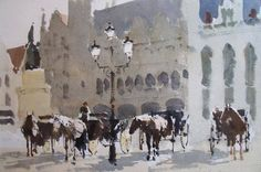 John Yardley (b. 1933, UK) Waiting for customers.  Bruges. 2014 watercolour. 12 x 16 in.
