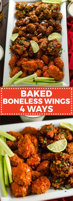 Baked Boneless Wings 4 Ways. Cornflake-coated chicken breast pieces are tossed in homemade Buffalo Sauce, Smoky Chipotle-Lime Sauce, Honey, Bourbon BBQ Sauce, and Orange Glaze Baked Chicken Wings, Chicken Wing Recipes, Lime Chicken, Honey Bbq, Honey Bourbon, Homemade Buffalo Sauce, Cooking Recipes, Tossed, Stuffed Peppers
