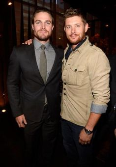 Jensen Ackles and Stephen Amell. Oh look, Jensen grew a beard for me....now his perfection is undeniable