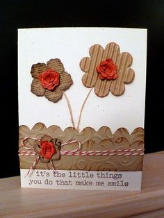 Handmade Card (love the corrugated cardboard texture)