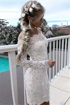 off the shoulder lace homecoming dresses, white long sleeves tight short prom dresses, simple bodycon party dresses with sleeves #shortpromdresses