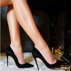 New Womens Shoes High Heels Stilettos Beauty Ideas Black High Heels, High Heels Stilettos, Stiletto Heels, Shoes Heels, Best Work Shoes, Jimmy Choo, Spike Shoes, Flat Shoes, Inspired Outfits