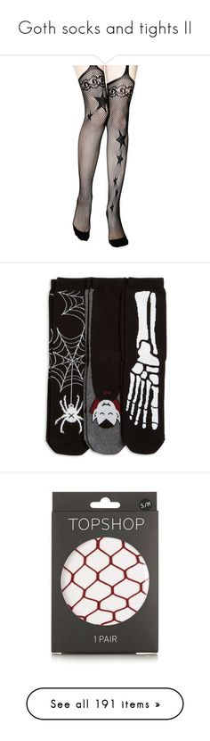 """""""Goth socks and tights II"""" by morbid-octobur ❤ liked on Polyvore featuring intimates, hosiery, tights, black, music legs stockings, music legs tights, opaque tights, fishnet suspender tights, star stocking and socks"""