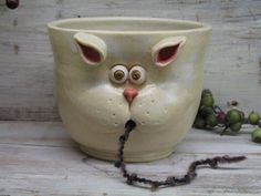 Yarn bowl - Knitting bowl - LARGE yarn Holder with Cute Cat Mouth - handmade ceramic pottery by Heidi