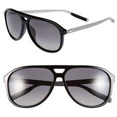Men's Dior Homme '176S' 60Mm Polarized Sunglasses ($440) ❤ liked on Polyvore featuring men's fashion, men's accessories, men's eyewear, men's sunglasses, black, mens aviators, mens polarized sunglasses, mens eyewear, mens sunglasses and mens aviator sunglasses