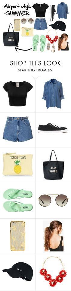 """""""Airport style -SUMMER"""" by izzybellah-1 on Polyvore featuring Glamorous, Forever 21, New Look, Venus, Prada, Boohoo and NIKE"""