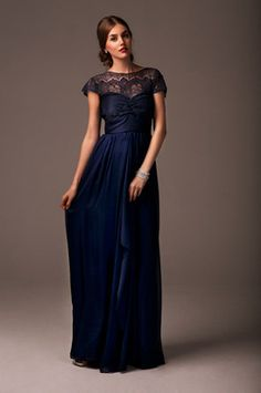 2014 Modest Lace Sheer Illusion Neck Empire Chiffon Navy Blue Bridesmaid Dresses Long With Short Sleeves