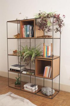 Industrial Home Shelving – Industrial Decor Magazine Bookcase Shelves, Metal Shelves, Shelving, Wooden Bookcase, Decoration Bedroom, Decoration Design, Room Decor, Muebles Living, Regal Design