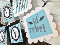 Lil Rebel Happy Birthday Banner  Light Blue by EmeraldCityPaperie