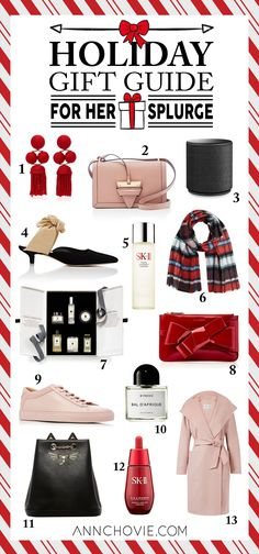 "Happy Holidays Loves! I've rounded up my fav items in ""The ULTIMATE Holiday Gift Guide for Every Price Point!"" SPLURGE! (THE EXTRA GLAM, TREAT YOSELF GIFT): If there's any appropriate time to splurge, it would be for the holidays! Whether you want to treat yourself or any of your loved ones with your favorite fragrance or designer shoes, this is the time to go all out! These splurge items are upwards of $100 and are guaranteed to impress!"