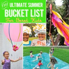 The Ultimate Summer Bucket List For Bored Kids - Even if your kids aren't going on vacation or off to summer camp, you can still ensure they'll have the best summer ever. Craft Activities For Kids, Summer Activities, Projects For Kids, Crafts For Kids, Indoor Activities, Family Activities, Bored Kids, Boredom Busters, Summer Bucket Lists