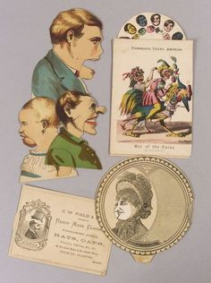 FIVE MECHANICAL PAPER ITEMS WITH CHANGING FACES, MID-19TH CENTURY