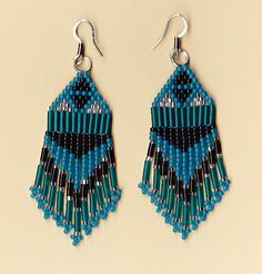 American Indian Blue Ice Dangle Earrings by NativeWorks on Etsy, $18.00