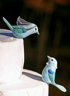 Blue Gray Tanager Love Birds Wedding Cake Topper. via Etsy.