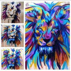 Colorful lion I painted for a friend's birthday. Glad I finally pulled out Grandma's old oil paints! Friend Birthday, Lion Sculpture, Colorful, Oil, Homemade, Statue, Painting, Home Made, Boyfriend Birthday