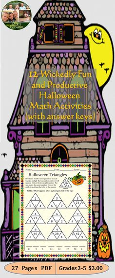 These twelve math puzzles and activities (with answer keys) are a great way to keep kids motivated and productive around Halloween. Students can complete story problems, match answers, break codes, find patterns, complete puzzles - all while reviewing and reinforcing core math concepts and skills including some Common Core concepts. Great for whole group, centers, or individuals. Grades 3-5. 27 pages