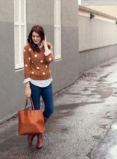 brown sweater and shirt. love it  prettynyummy.blogspot