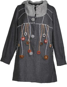 Wool blend coat with flower appliqués in Grey / Light-Grey designed by Replace to find in Category Coats & Jackets at navabi.de ~ I want to hang the flower trim off the ends of a scarf.