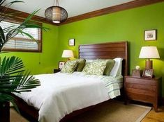 Wonderful 39 Bright Tropical Bedroom Designs : 39 Bright Tropical Bedroom Designs With White Green Brown Bed Pillow Blanket Nightstand Lamp Window Curtain Chandelier Carpet Plant Decor And Hardwood Floor Tropical Bedroom Decor, Tropical Bedrooms, Bedroom Green, Bedroom Colors, Green Bedrooms, Living Place, Green Pillows, Red Rooms, Couple Bedroom