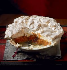 This spiced chestnut and pumpkin meringue pie recipe is a delicious twist on an old favourite.