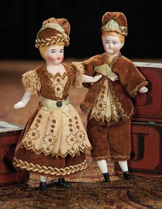 Pair, German Bisque Miniature Dolls in Original Matching Brother and Sister Costumes. Lot # 109