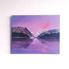 A commission of Lake Louise, Banff, Canada (2019) for an anniversary gift. For more like this or to commission your own special painting, visit kannypaints.com/commissions. Banff Canada, Anniversary Gifts, Oil On Canvas, Tapestry, Purple, Painting, Decor, Art, Birthday Presents