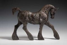 Bronze resin Horse / Equines sculpture by artist April Young titled: 'Strutting Coils Horse'