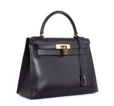 Hermes Black Box Calf Kelly 28 cm Purse Classic Bag - want.