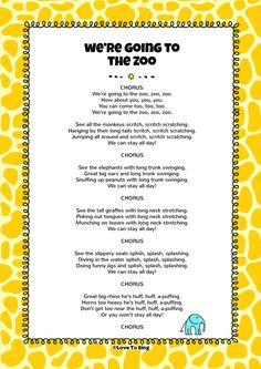 We're Going to the Zoo Song - Trip to the Zoo - Zoo Activities Preschool, Zoo Animal Activities, Preschool Projects, Preschool Classroom, Preschool Learning, Preschool Activities, Kids Video Songs, Songs For Toddlers, Children Songs