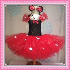 Minnie Mouse Tutu Dress. Red Minnie Mouse Dress. por DiddyDarlings