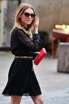 Black mini with red purse